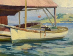 At the Dock, American Impressionist, Eric Hudson, sailing boat New England coast