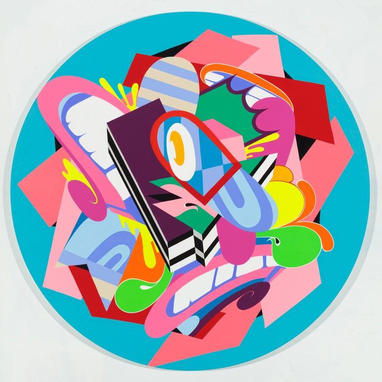 Eggman, Eric Inkala Street Art Graffiti Round Purple Teal Pink Red Green White - Painting by Eric Inkala