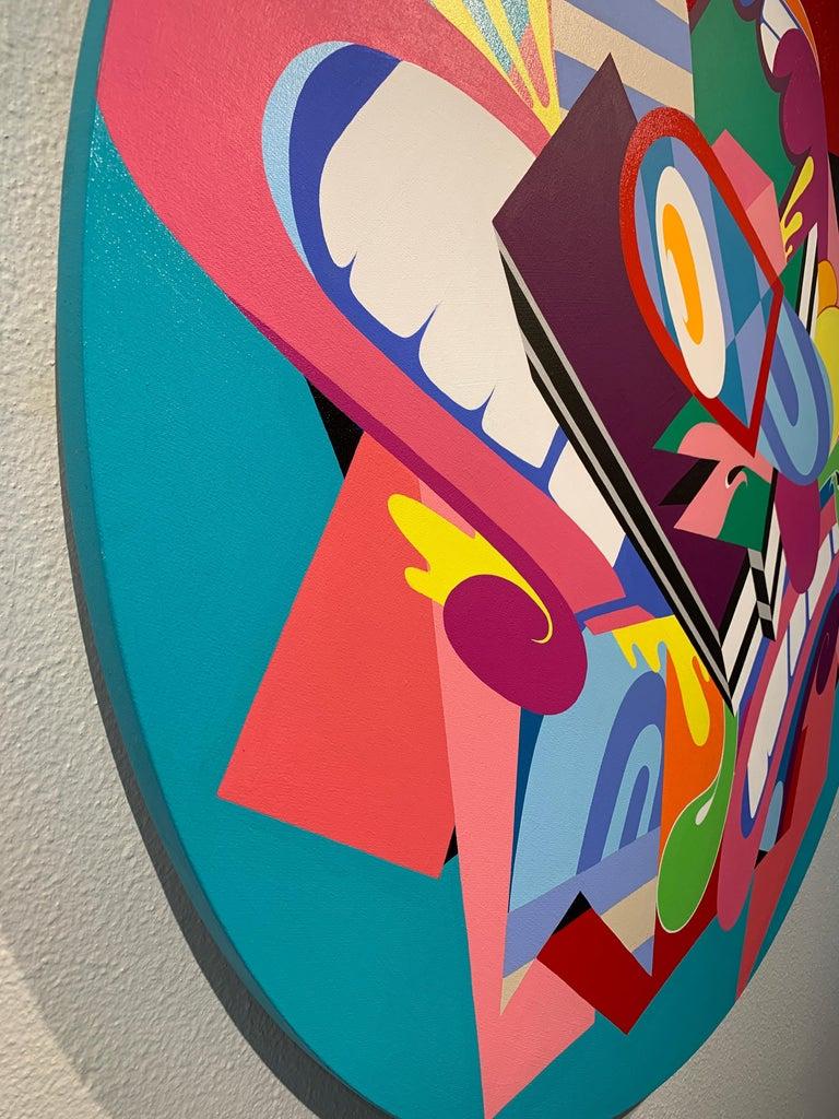 Eggman, Eric Inkala Street Art Graffiti Round Purple Teal Pink Red Green White - Beige Abstract Painting by Eric Inkala