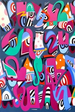 Never Ending Line, Eric Inkala Street Art Graffiti Red Teal White Pink