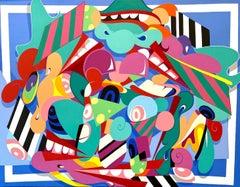 Still Life With Eyeballs, Eric Inkala Street Art Graffiti Red Teal White Pink