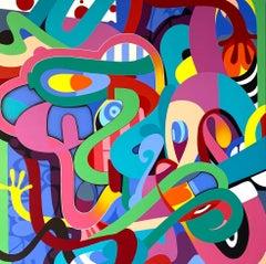 Untitled 3, Eric Inkala Street Art Graffiti Red Teal White Pink