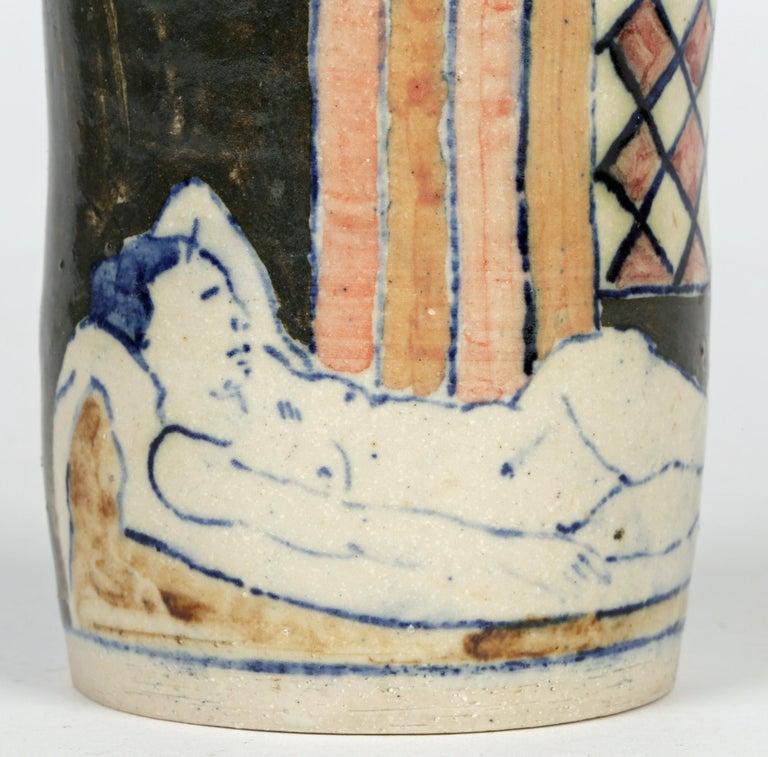 Eric James Mellon Studio Pottery Ash Glazed Vase with Nudes For Sale 5