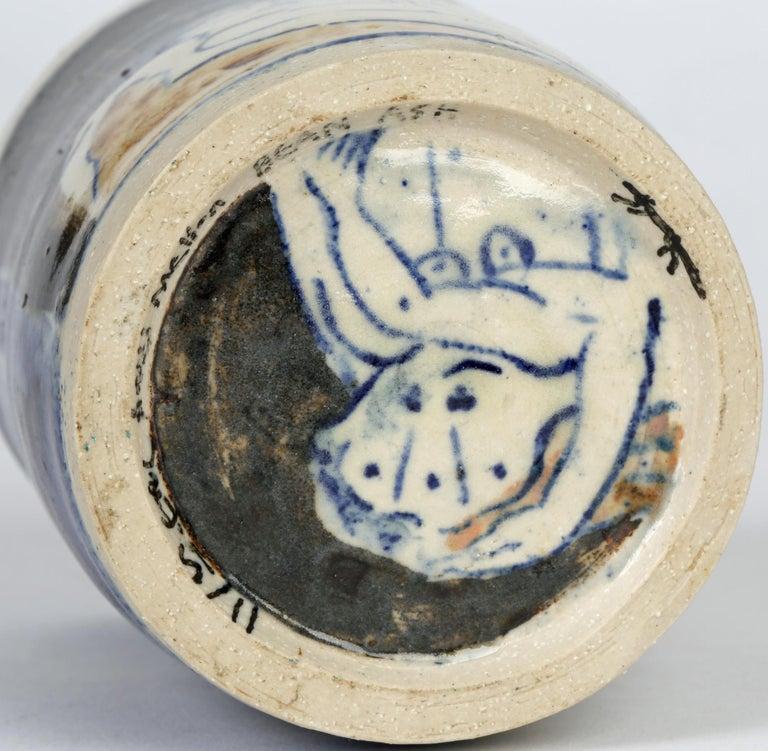 Eric James Mellon Studio Pottery Ash Glazed Vase with Nudes In Good Condition For Sale In Bishop's Stortford, Hertfordshire