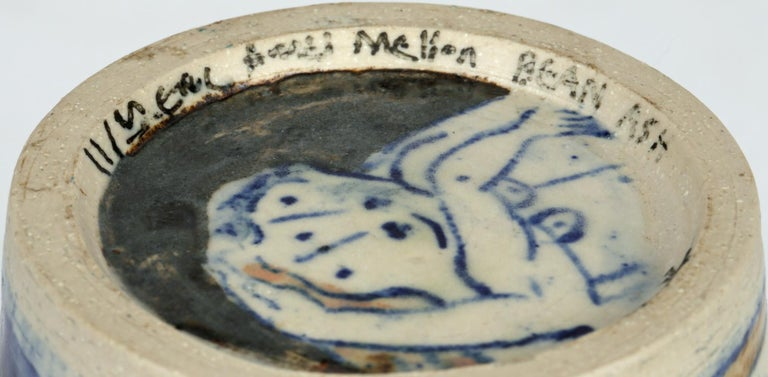 Porcelain Eric James Mellon Studio Pottery Ash Glazed Vase with Nudes For Sale