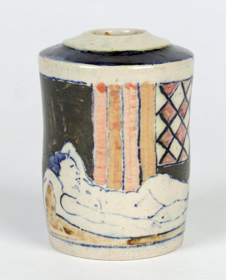 Eric James Mellon Studio Pottery Ash Glazed Vase with Nudes For Sale 1