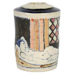 Eric James Mellon Studio Pottery Ash Glazed Vase with Nudes