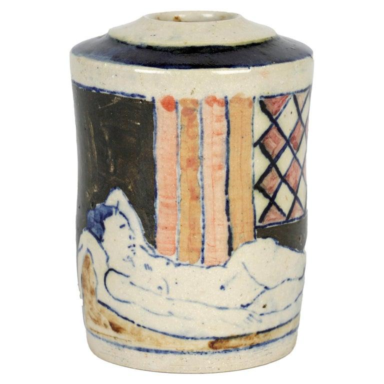 Eric James Mellon Studio Pottery Ash Glazed Vase with Nudes For Sale