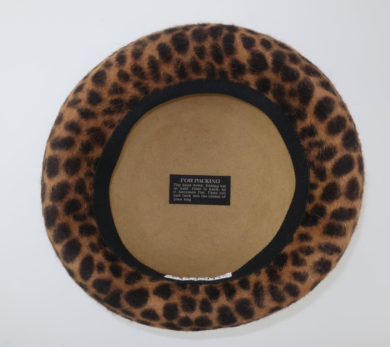 Eric Javits Animal Print Mohair Bowler Style Hat For Sale 6
