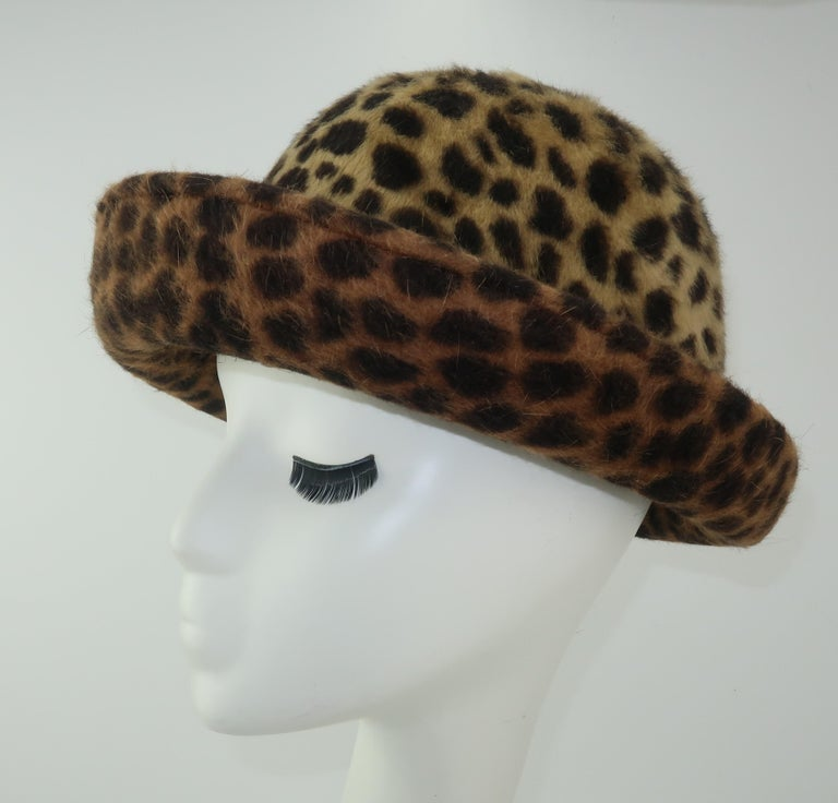 Eric Javits Animal Print Mohair Bowler Style Hat In Good Condition For Sale In Atlanta, GA