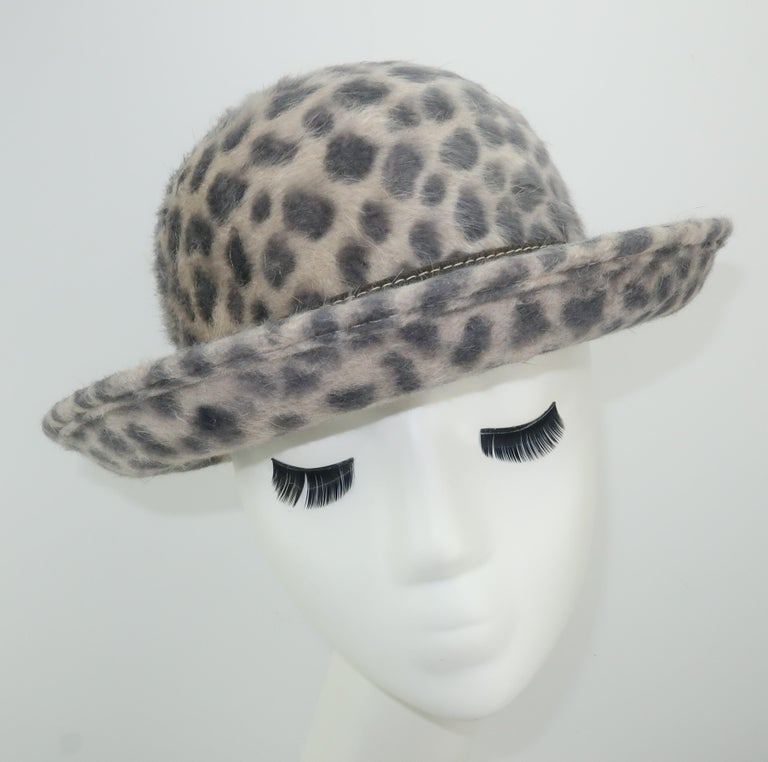 Gray Eric Javits Animal Print Mohair Bowler Style Hat For Sale