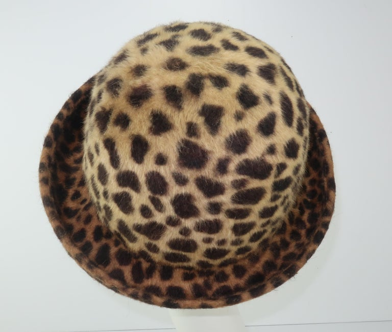 Women's Eric Javits Animal Print Mohair Bowler Style Hat For Sale