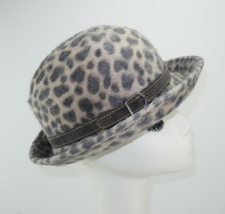 Eric Javits Animal Print Mohair Bowler Style Hat For Sale 1