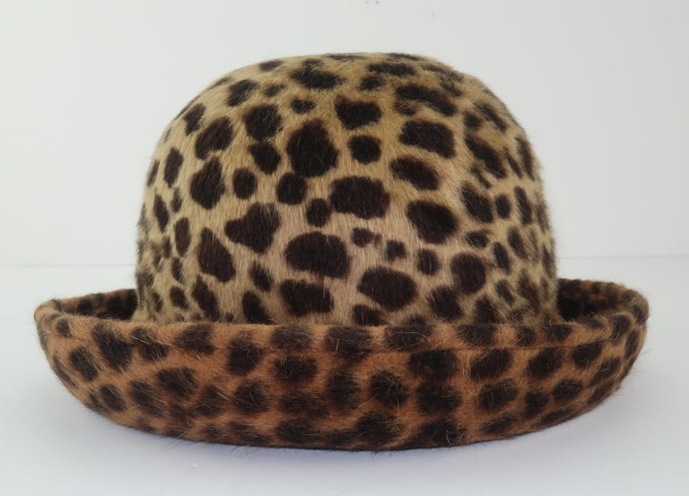 Eric Javits Animal Print Mohair Bowler Style Hat For Sale 3