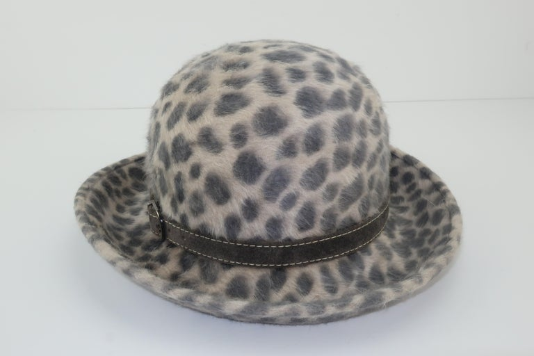 Eric Javits Animal Print Mohair Bowler Style Hat For Sale 2
