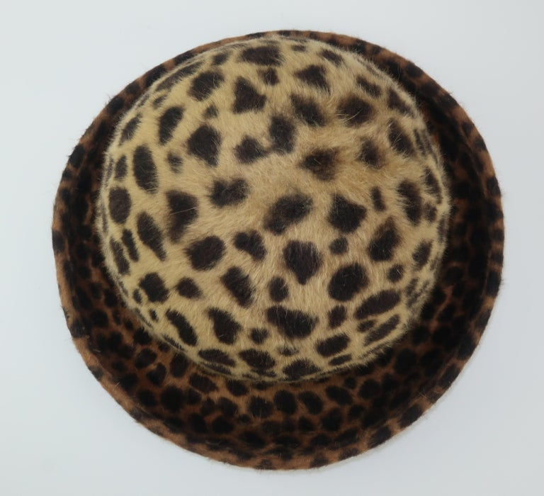 Eric Javits Animal Print Mohair Bowler Style Hat For Sale 5
