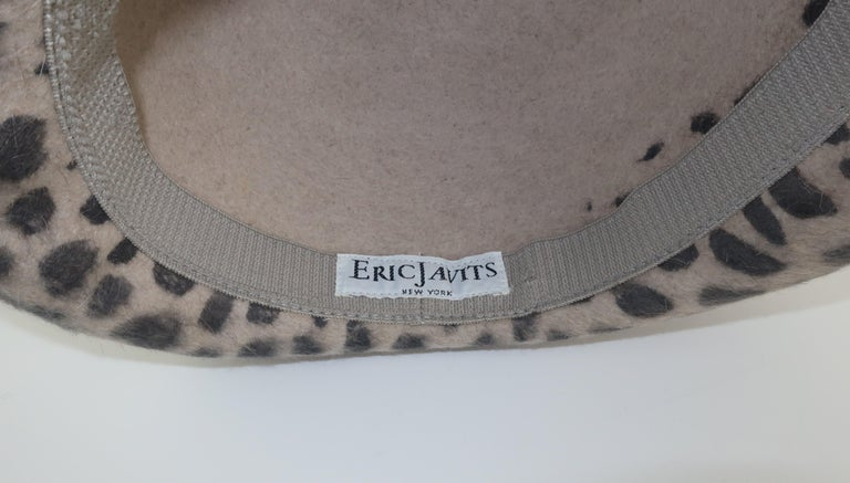 Eric Javits Animal Print Mohair Bowler Style Hat For Sale 4