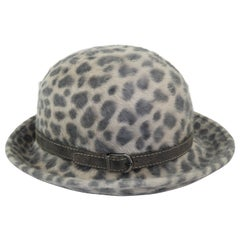 Eric Javits Animal Print Mohair Bowler Style Hat
