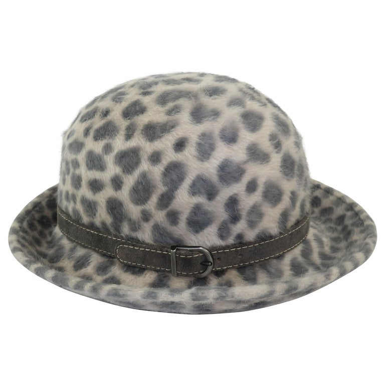 Eric Javits Animal Print Mohair Bowler Style Hat For Sale