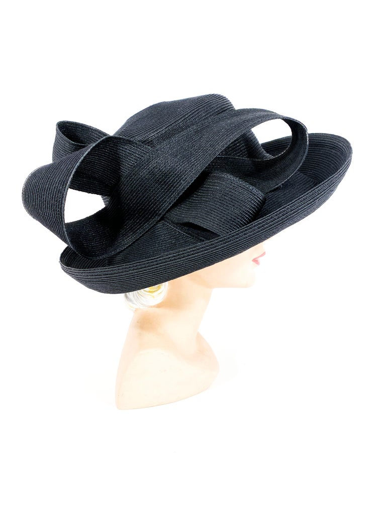 Eric Javits Black Coated Straw Hat with Large Bow In Good Condition For Sale In San Francisco, CA