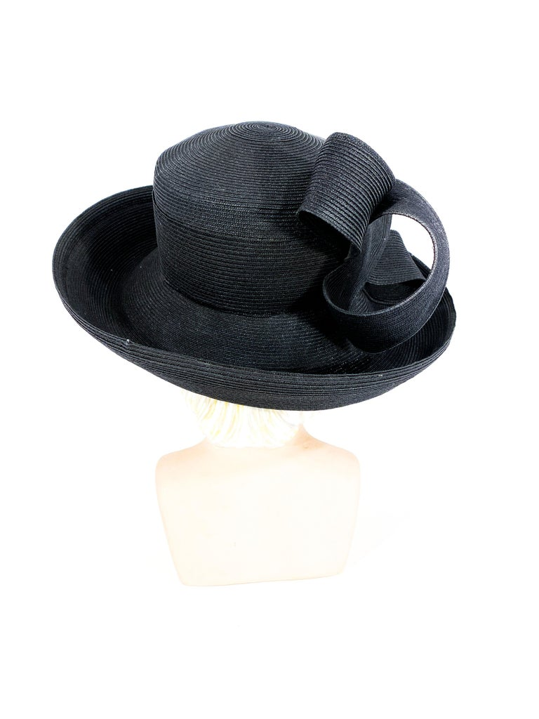 Women's or Men's Eric Javits Black Coated Straw Hat with Large Bow For Sale
