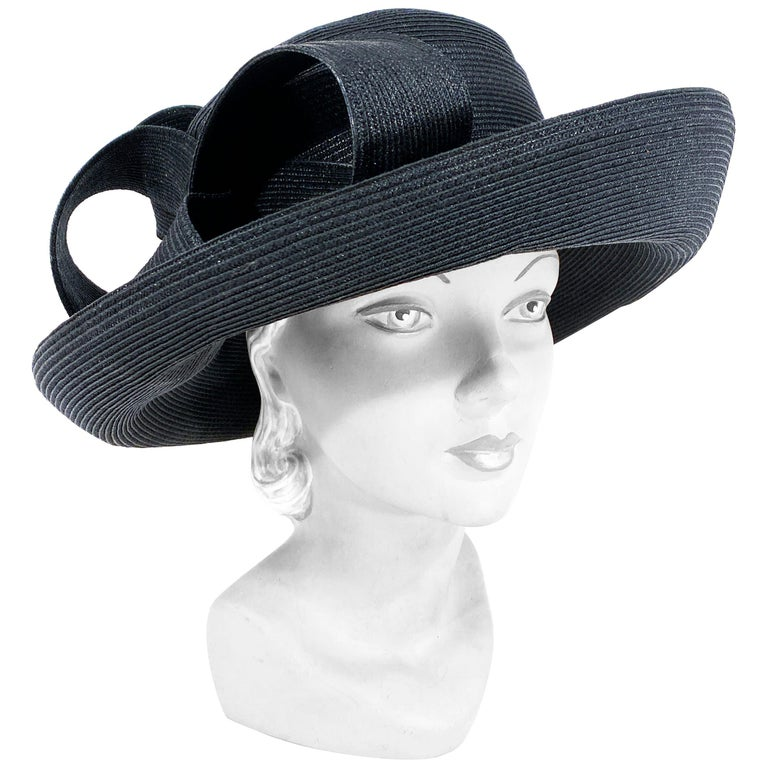 Eric Javits Black Coated Straw Hat with Large Bow For Sale