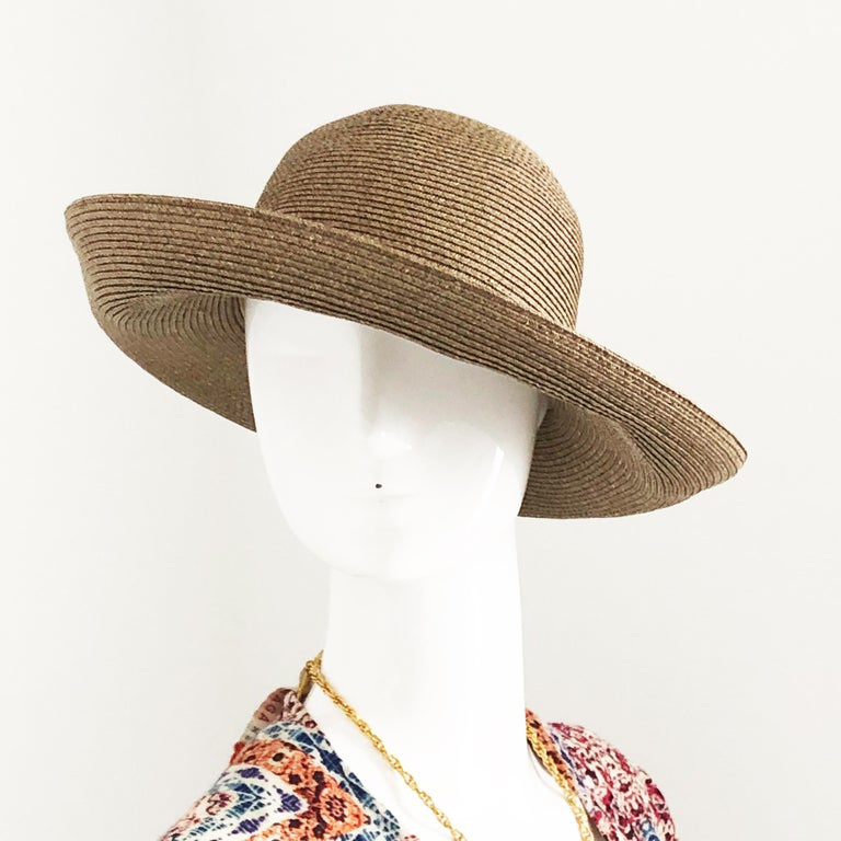 Brown Eric Javits New York Squishee Sun Hat Beach Travel OS For Sale