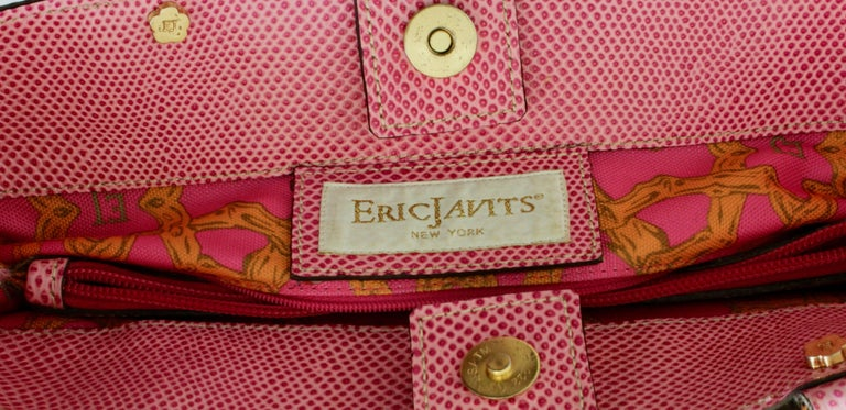 Eric Javits Pink Analu Squishee Tote Bag with Shoulder Strap Bamboo Handles  For Sale 6