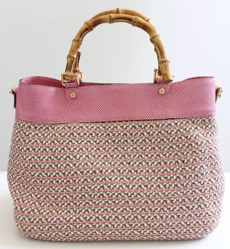 abf40aacbab7 Brown Eric Javits Pink Analu Squishee Tote Bag with Shoulder Strap Bamboo  Handles For Sale
