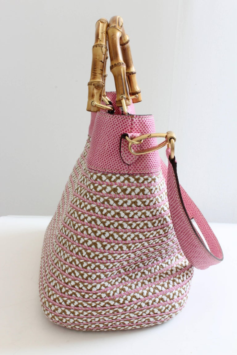 Eric Javits Pink Analu Squishee Tote Bag with Shoulder Strap Bamboo Handles  In Good Condition For Sale In Port Saint Lucie, FL