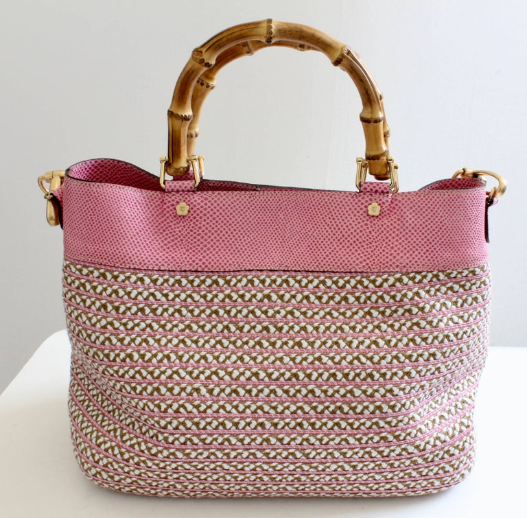 Eric Javits Pink Analu Squishee Tote Bag with Shoulder Strap Bamboo Handles  For Sale 2