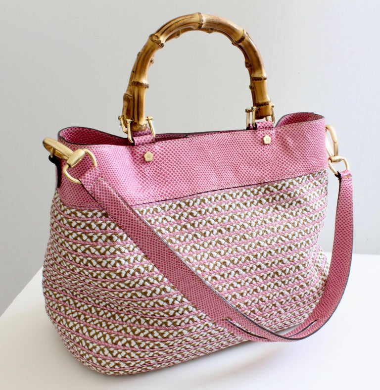 d74fbecc35ff Eric Javits Pink Analu Squishee Tote Bag with Shoulder Strap Bamboo Handles  For Sale 3