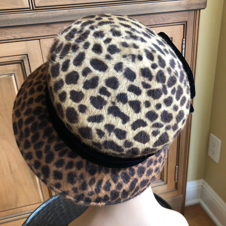 Eric Javits Plush Leopard Print Velvet Hat With Black Velvet Band In Good Condition In San Francisco, CA