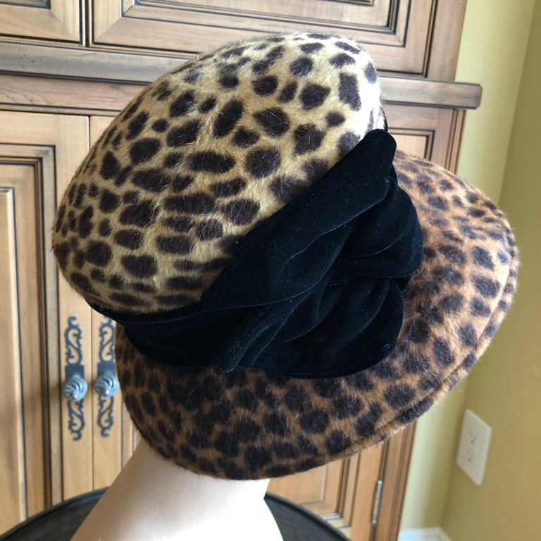 Women's or Men's Eric Javits Plush Leopard Print Velvet Hat With Black Velvet Band