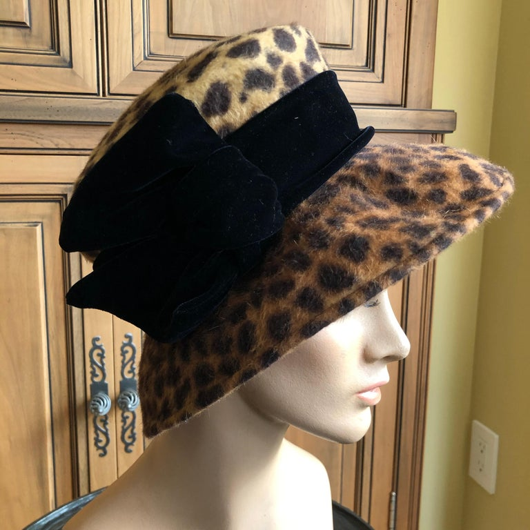 Eric Javits Plush Leopard Print Velvet Hat With Black Velvet Band 1