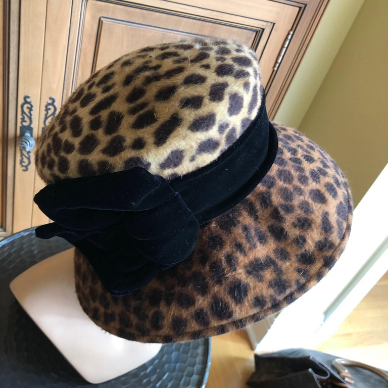 Eric Javits Plush Leopard Print Velvet Hat With Black Velvet Band 2
