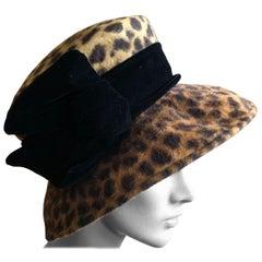 Eric Javits Plush Leopard Print Velvet Hat With Black Velvet Band
