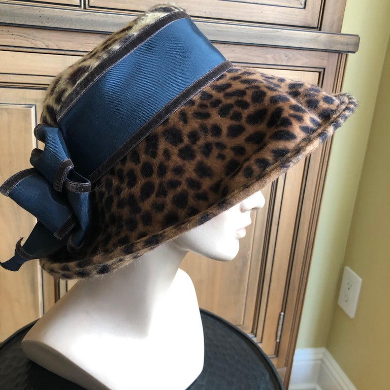 Black Eric Javits Plush Leopard Print Velvet Wide Brim Hat For Sale