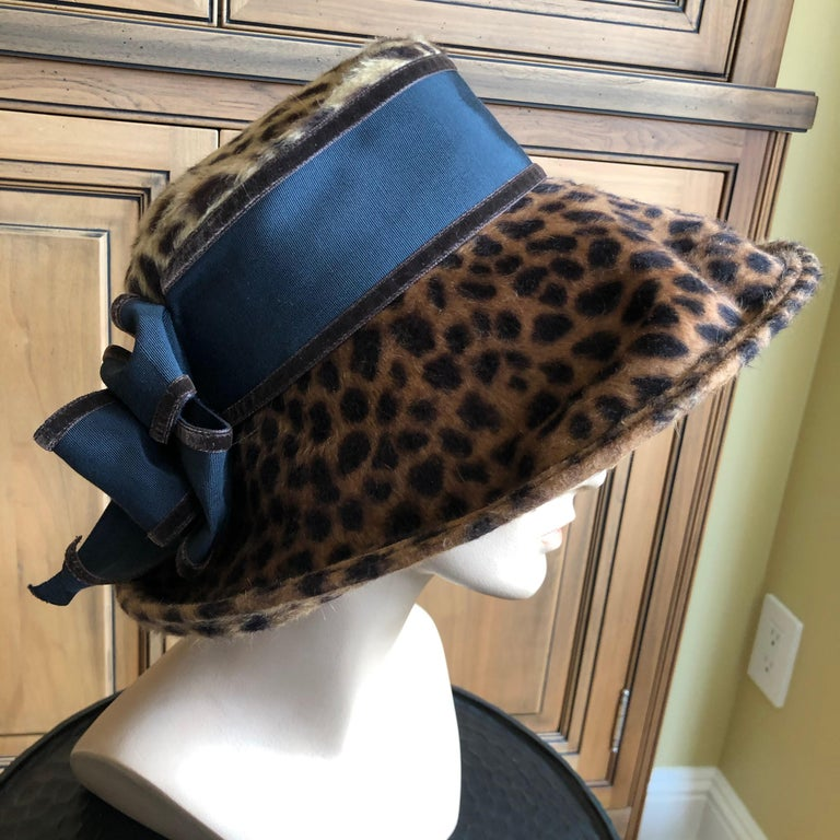 Eric Javits Plush Leopard Print Velvet Wide Brim Hat In Excellent Condition For Sale In San Francisco, CA