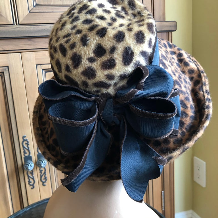 Women's or Men's Eric Javits Plush Leopard Print Velvet Wide Brim Hat For Sale