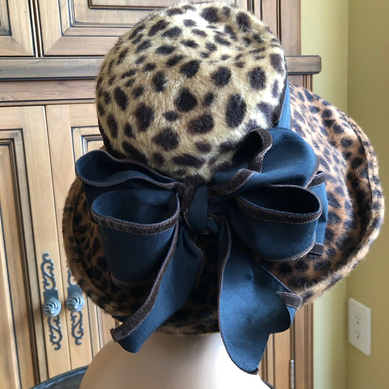 Eric Javits Plush Leopard Print Velvet Wide Brim Hat For Sale 1