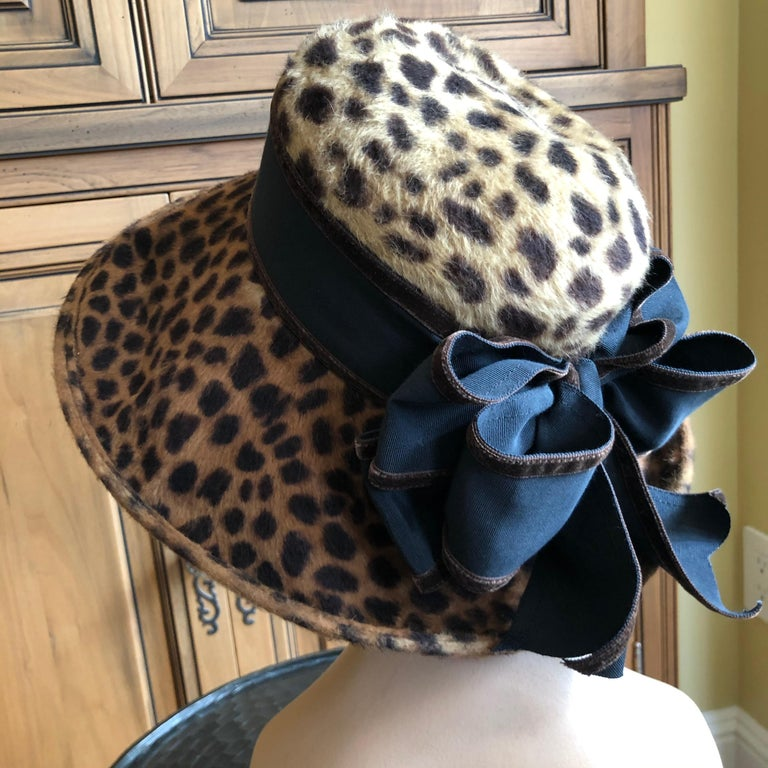 Eric Javits Plush Leopard Print Velvet Wide Brim Hat For Sale 2