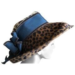 Eric Javits Plush Leopard Print Velvet Wide Brim Hat
