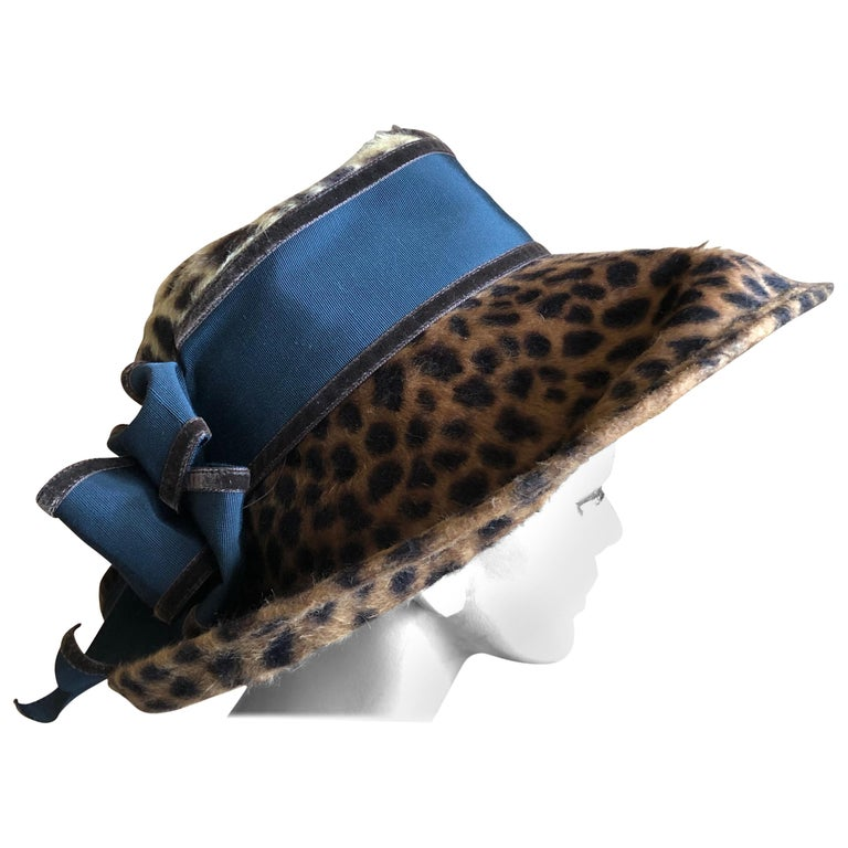 Eric Javits Plush Leopard Print Velvet Wide Brim Hat For Sale