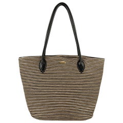 ERIC JAVITS Stripe Beige Straw Leather Tote Handbag