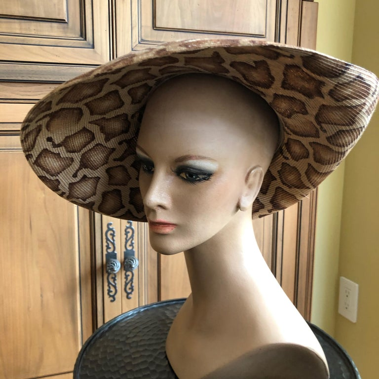 Gray Eric Javits Wide Brim Giraffe Print Straw Hat