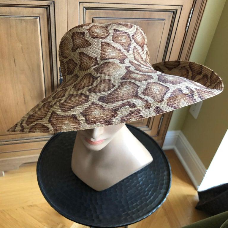 Women's or Men's Eric Javits Wide Brim Giraffe Print Straw Hat