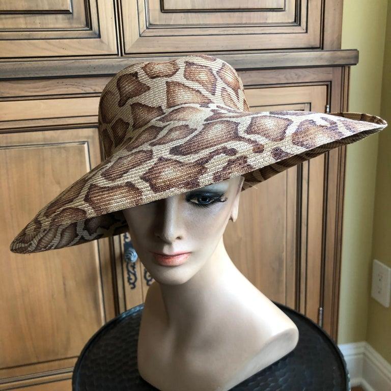Eric Javits Wide Brim Giraffe Print Straw Hat 1