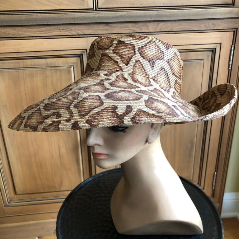 Eric Javits Wide Brim Giraffe Print Straw Hat 2