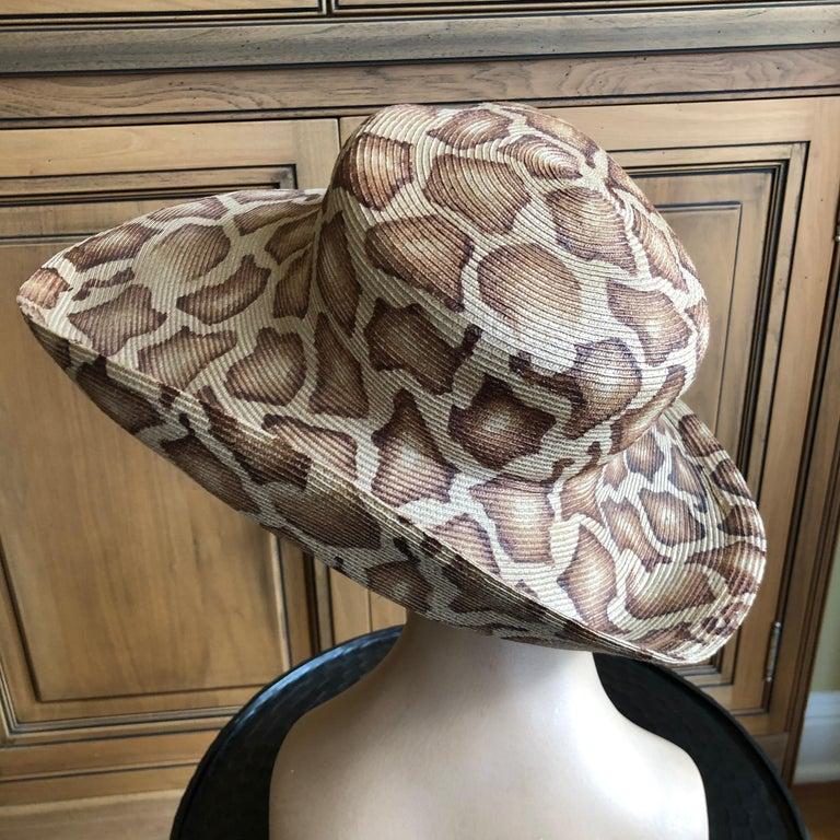 Eric Javits Wide Brim Giraffe Print Straw Hat 3